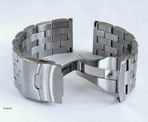 26mm SOLID HEAVY BRUSHED STAINLESS STEEL WATCH BAND,BRACELET DOUBLE LOCK MEN