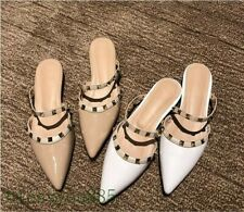 Women's Patent Leather Fashion Slippers Mules Pointy toe Flats Rivet Shoes White