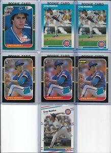 Greg Maddux Rookie Lot of (7) w/(4) 1987 Donruss Rookies #36 & 52 (2) 1987 Fleer