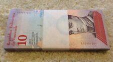 More details for venezuela banknote bundle. 100 x 10 bolivares. unc. 100 pcs. dated 2018.