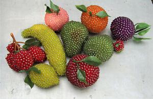 VTG Beaded Fruit MCM 10 pcs Peach Banana Strawberries Pears Lemon Orange Apple