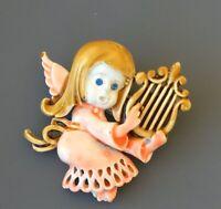 Vintage Angel Playing Harp  Brooch in enamel on metal