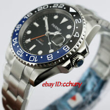 40mm Parnis GMT Ceramic Bezel Sapphire glass Black Dial Automatic Men's Watch
