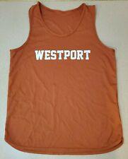 Westport Men's Orange Track Field Cross Country Exercise Tank Top Jersey Shirts