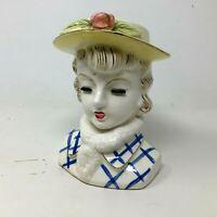 Vintage Lady Head Vase Blue Plaid Yellow Hat Rose Eyelashes