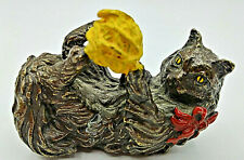 The Franklin Mint Vtg Small Painted Metal Cat Figurine With Ball of Yarn