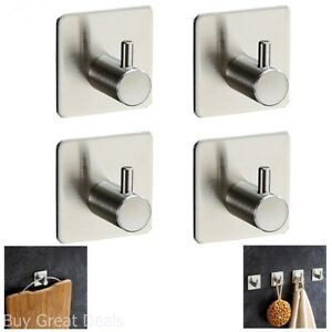 4-Pack Robe/Towel Hook Self Adhesive SUS 304 Stainless Steel Brushed Nickel