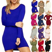 Ladies Womens Long Sleeves Plain Basic Stretchy Jersey Bodycon MIni Dress Top