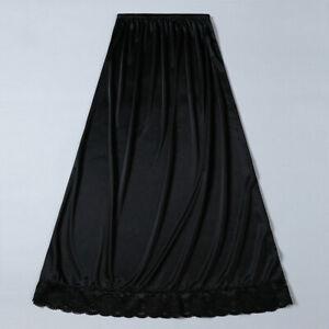 Lady Satin Lace Underskirt Thin Half Slips Petticoat Skirt Faux Silk Midi Shiny