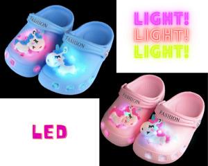 Unicorn Kids Slipper Sandal Boys Girls Beach Shower Garden Summer Shoe LED Light