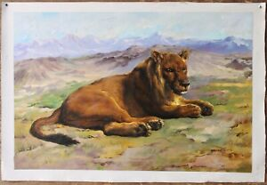 """24x36"""" Oil painting on canvas animal lion hand-painted for home wall art Decor"""
