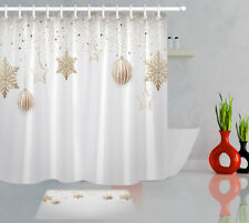 Christmas Balls Gold Confetti Snowflakes Stars Shower Curtain Set Bathroom Decor