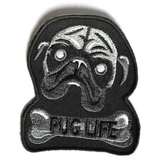 Embroidered Pug Life Dog Bone Iron on Sew on Biker Patch Badge