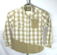 Parish Nation Mens 2XL Khaki White Plaid Distressed Long Sleeve Button Up Shirt