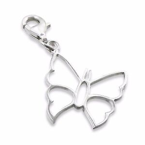 Silvadore BUTTERFLY Outline 925 Sterling Silver Clip On Charm Bracelet Box 347