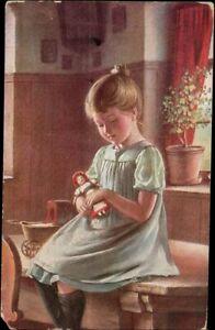 AK Kinder, Künstler, Mädchen mit Puppe,  Kleinformat