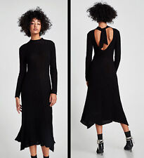 ZARA Black Ribbed Knitted A Line Midi Dress with Back Bow S BNWT 4331 109
