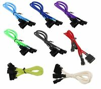 Molex 4-pin to 3x3 Pin Fan Cable Cord Adapter Braided Premium Sleeve