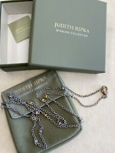 """Judith Ripka Sterling Silver 925 CZ Clasp Two Tone Necklace 36"""" (20.3g) IN BOX!!"""