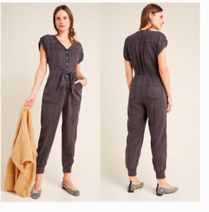 NEW $160 Anthropologie Women's Size 14 Huxley Utility Jumpsuit Jogger Charcoal