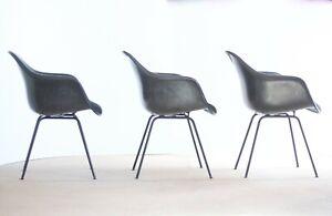 Lot MCM Black Original Eames Herman Miller Naugahyde Shell Armchair 1960s