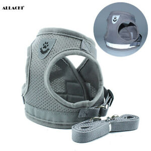 Allacki Dog Harness Step-in Mesh Dog Puppy Vest Harness with Leash (4 Colors)