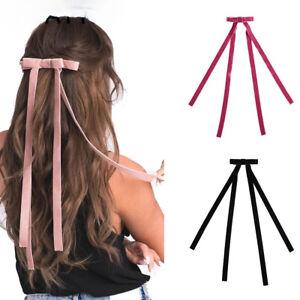 Vintage Velvet Bow Hair Clip Ribbon Women Girls Long Barrette Hair Accessories