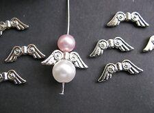 10 Metallperlen Flügel in silber hell, 20,5 x 7 mm, Engel mit Perlen basteln