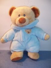 """TY BABY BEAR BLUE - NON-REMOVABLE PAJAMA'S SUIT - 2014 - 10""""  VGC"""