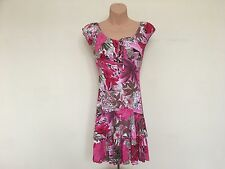 Jane Norman - Pink, White and Brown Floral Gypsy Peasant Ra Ra Mini Dress Size 8
