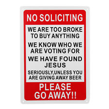 10'' X 14'' No Soliciting Funny Sign Go Away Front Door Novelty Gift Signs ABS