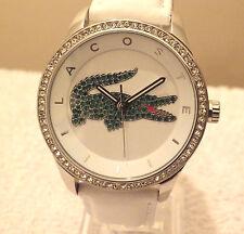 Designer Lacoste 2000893 Ladies Victoria White Leather Strap Watch £220 NEW