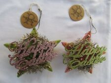 Vintage style Bottle brush STAR Ornaments Happy Easter ~ Ragon House 2pc NEW