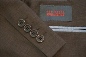 Ted Baker Endurance Brown 100% Wool 2 Pc Suit Jacket Pants Sz 42L