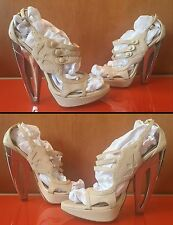 Christian Dior Blue Angel Sandals Runway Beige Chrome Heels 7 7.5 Box Bag $1090