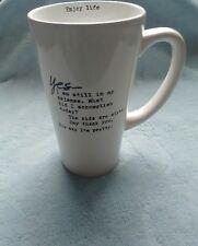 """Sweet Bird and Company LM003 """"Yes"""" Latte Stoneware Mug, 16 oz, White (30)"""