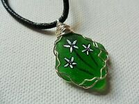 """Hand painted daisy green sea glass necklace - 18"""" black cord art jewellery"""