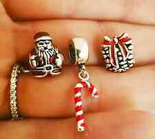 3PC Santa pine Candycane Christmas Presents Gift charm for Bracelet-European