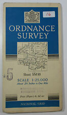 1954 old vintage OS Ordnance Survey 1:25000 First Series map SM 80 Angle