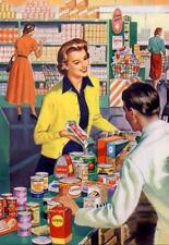 WOMAN SHOPPING IN GROCERY STORE, 1950S, RETRO, FRIDGE MAGNET