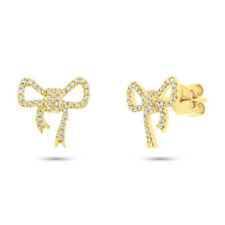 0.22 CT 14K Yellow Gold Natural Round Cut Diamond Bow Ribbon Stud Earrings