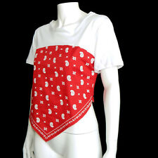 ZARA NWT Bandana Print Red White Cap Sleeve Hi Lo Western Stretch Top sz Large
