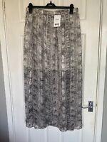 Brand New Next Women's Grey Mix Chiffon Part Lined Long Skirt Size 16
