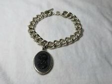 John Hardy Sterling Silver Naga Carved Onyx Dragon Curb Link Toggle Bracelet