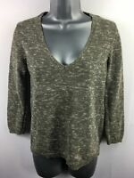 WOMENS MASSIMO DUTTI BROWN GOLD SHIMMER KNIT V-NECK LIGHTWEIGHT JUMPER SMALL