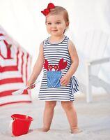 Mud Pie Boathouse Baby Toddler Girl Striped Nautical Crab Dress