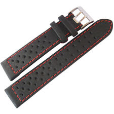 22mm Di-Modell Rallye Mens GT Rally Black Red-Stitched Leather Watch Band Strap