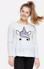 Justice Girl's Size 12 UNICORN Long Sleeve Swingy Graphic Tee New with Tags