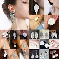 Fashion Resin Flower Crystal Bead Earrings Silver White Drop Dangle Ear Stud HOT