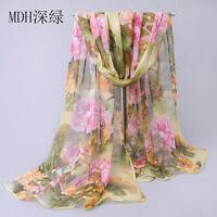 Pretty Women Long Soft green Scarf Wrap Chiffon Shawl Silk Scarves